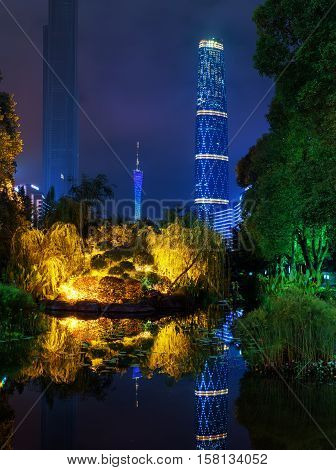 The Guangzhou International Finance Centre Reflected In Pond