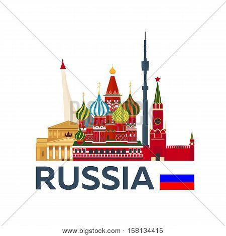 Travel To Russia, Moscow Skyline. Kremlin. Vector Illustration.