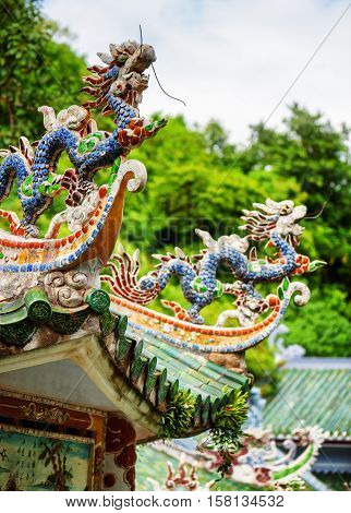 Traditional Mosaic Dragons On Roof Of The Linh Ung Pagoda