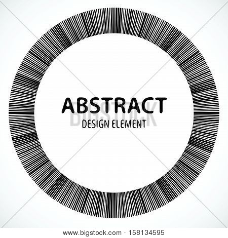 Geometric Element Made Of Lines. Abstract Monochrome Shape Isolated On White