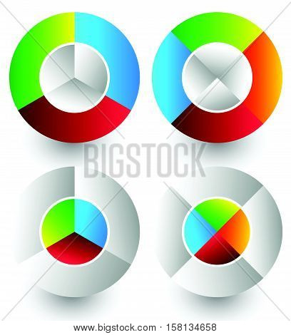 Pie Chart, Pie Graph Icons. Analytics, Diagnostics, Infographic Icons. Colorful Segmented Circle Ele