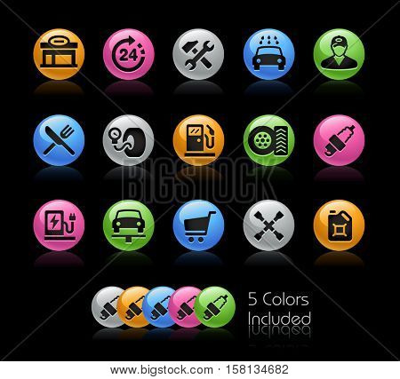 Gas Station Icons / The file Includes 5 color versions in different layers.