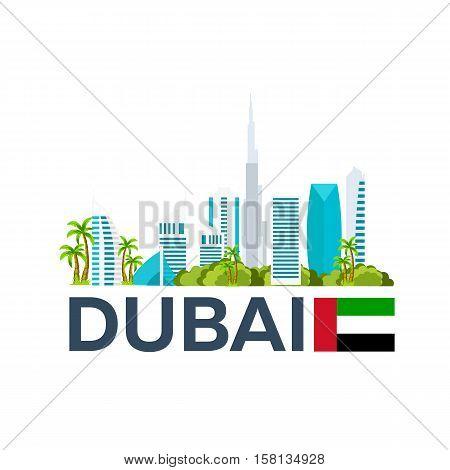 Travel To Uae, Dubai Skyline. Vector Illustration.