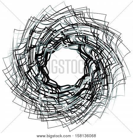 Spirally Abstract Geometric Element - Artistic Monochrome Illustration