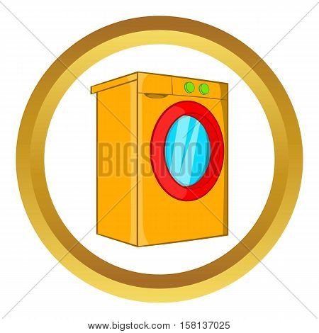 Washer vector icon in golden circle, cartoon style isolated on white background