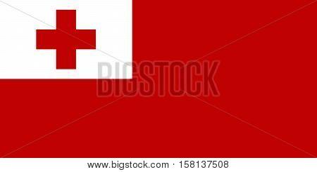Official vector flag of Tonga . Kingdom of Tonga .