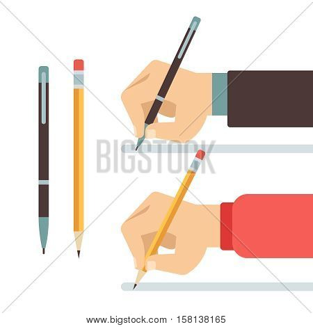 Cartoon writing hands with pen and pencil flat vector illustration. Writing with pencil or pen. Hand hold pen and write
