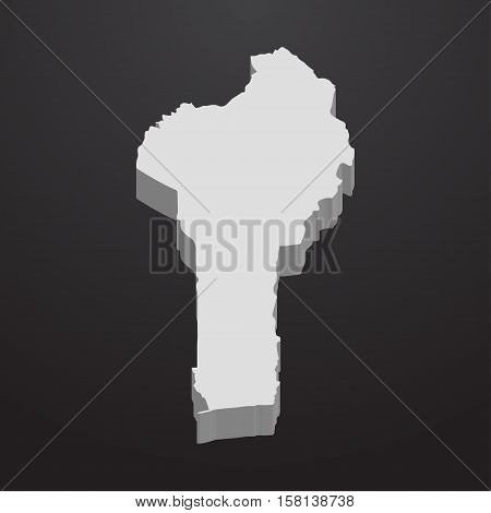 Benin map in gray on a black background 3d