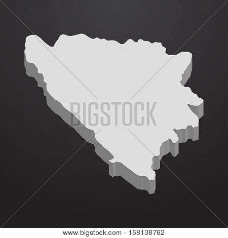Bosnia and Herzegovina map in gray on a black background 3d