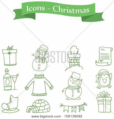 Green icon Christmas colection stock vector art