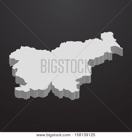 Slovenia map in gray on a black background 3d