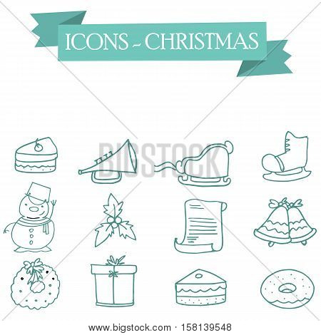 Icon of Christmas holiday collection stock vector art