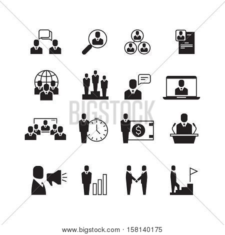 Business people, professional team, office group, management, handshake, training vector icons set. Business management and presentation business project illustration