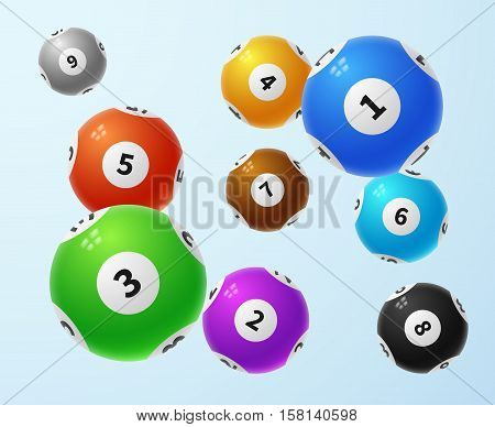 Lottery balls, sports lotto game vector concept. Color balls with numbers for lottery, illustration of lottery game sphere
