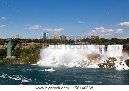 July 26 2016 from Niagara Falls Canada looking across to Niagara Falls New York, USA to the American side as a tourist boat makes it's way up the river