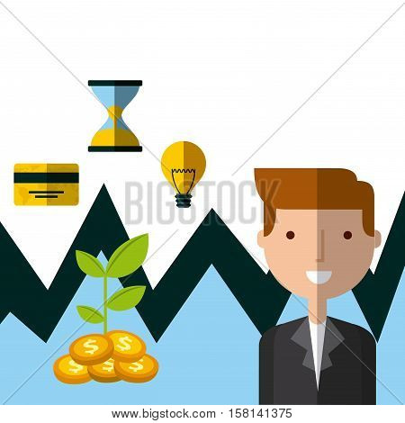cartoon businessman with  invest money and business icons. colorful design. vector illustration