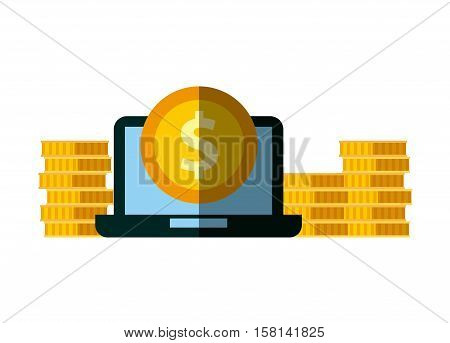 laptop computer with gold coins over white background. invest money and business concept. colorful design. vector illustration