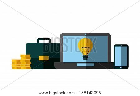 laptop computer with briefcase and stack of gold coins over white background. invest money and business concept. colorful design. vector illustration