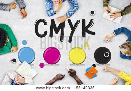 CMYK Creative Design Color Ink Mixture Printing Concept