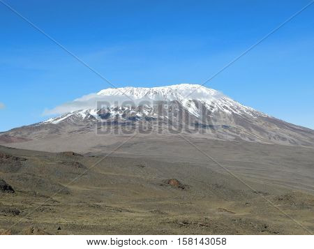 Glacier At The Top Of Kilimanjaro Mountain, Tanzania