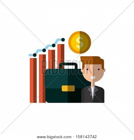 cartoon businessman with briefcase and graphic chart icon over white background. invest money and business concept. colorful design. vector illustration