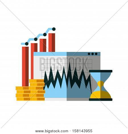 sandclock with gold coins and graphic chart icons over white background. invest money and business concept. colorful design. vector illustration