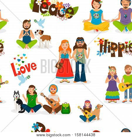 Hippie people seamless pattern on transparent background vector illustration