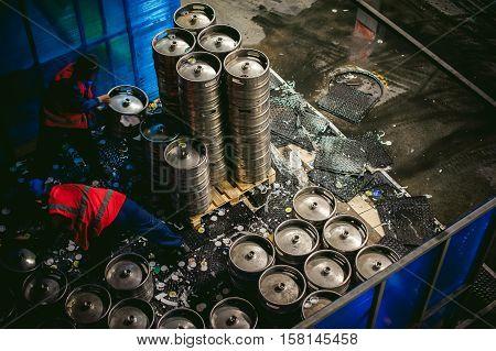 a workers stock Brewery blaming beer kegs