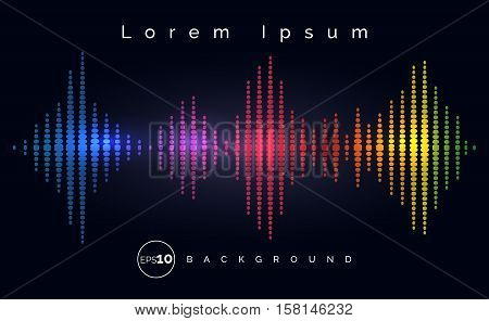 Waveform stereo equalizer poster. Music track wave background. Vector illustration