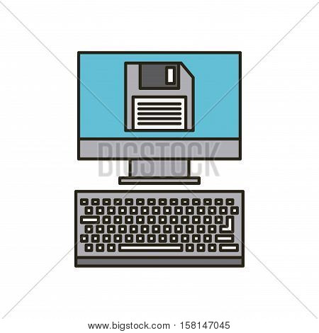 computer device with diskette icon on screen over white background. vector illustration