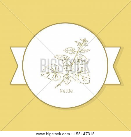 Nettle medicine plant, yellow label design in circle shape and flat shadow. Vector illustration