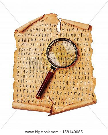Ancient Scroll With The Scandinavian Runes And Magnifying Glass