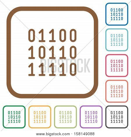 Binary code simple icons in color rounded square frames on white background