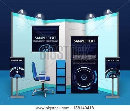 Promotional exhibition stand template with advertising objects and elements in blue corporate style isolated vector illustration