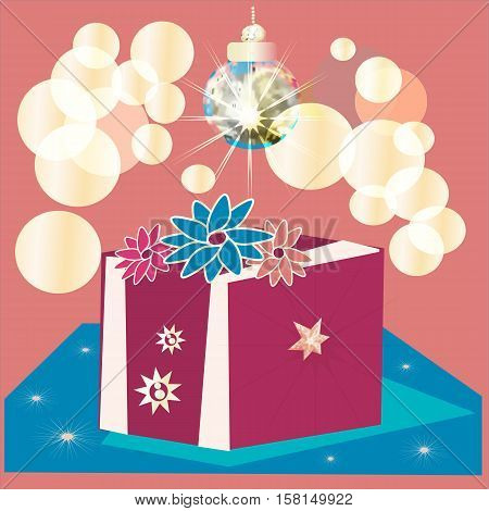 colorful wrapped gift box. Lots of presents.Shiny ball