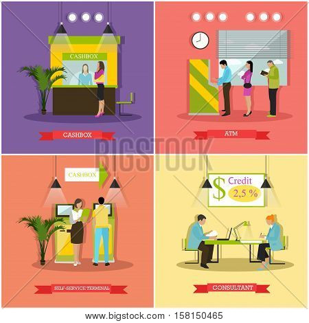 Vector set of banners, posters with cashbox, ATM, consultant, self-service terminal. Banking and finance concept design elements in flat style