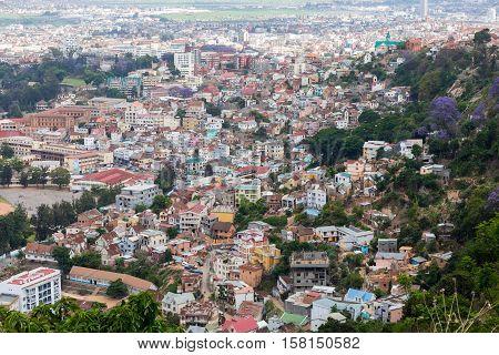 Antananarivo french name Tananarive short name Tana Very poor capital and largest city in Madagascar Madagasikara republic. View from top to Central Antananarivo cityscape. poster