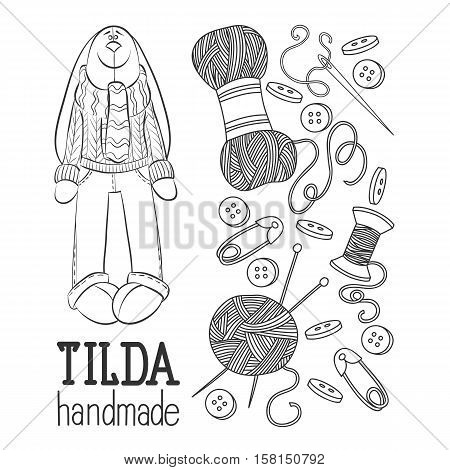 Scetch vector hand drawn set of object Hand Made Tilde doll hare cartoon doodle symbols and items.