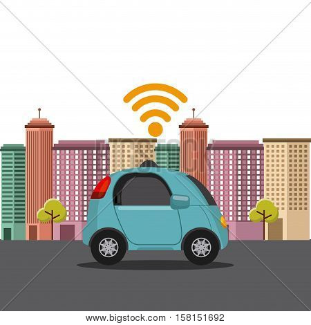 autonomous car vehicle with wireless waves over city background. ecology,  smart and techonology concept. vector illustration