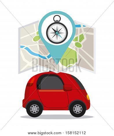 autonomous car vehicle and city map icon over white background. ecology,  smart and techonology concept. colorful design.  vector illustration