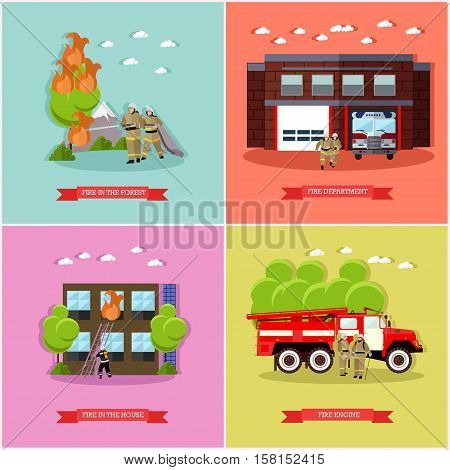 Vector set of posters, banners with fire fighting concept design elements in flat style. Fire department, fire engine, firemen fighting fire in the forest and in the house. Fire brigade, team.