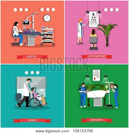 Vector set of banners, posters with dentist, optometrist, surgeon, nurse working in hospital, clinic. Healthcare and medicine concept design elements.