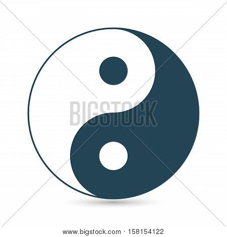 Icon of Yin and Yang dark outline on a white background vector image.