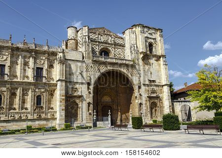 San Marcos Monastery of the sixteenth century in San Marcos square. Leon Spain