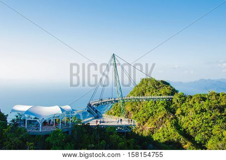 Photo of the Sky bridge view from cable car Langkawi Malaysia. Tourist attraction travel vacation and adventure holiday concept. Copy space
