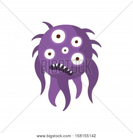 Purple Hairy Aggressive Malignant Bacteria Monster With Sharp Teeth And Five Eyes Cartoon Vector Illustration. Colorful Alien Virus Microorganism Unfriendly Character Flat Drawing.