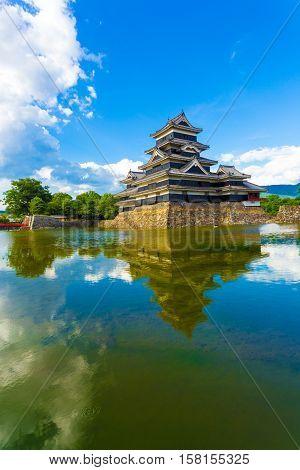 Matsumoto Castle Keep Sky Reflection Moat Water V