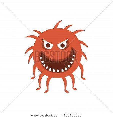 Round Red Hairy Aggressive Malignant Bacteria Monster With Sharp Teeth And Many Legs Cartoon Vector Illustration. Colorful Alien Virus Microorganism Unfriendly Character Flat Drawing.