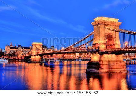 Illuminated Chain Bridge at Dusk, Budapest, Hungary