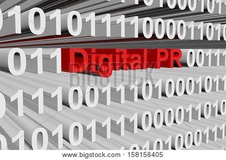 Digital PR in the form of binary code, 3D illustration